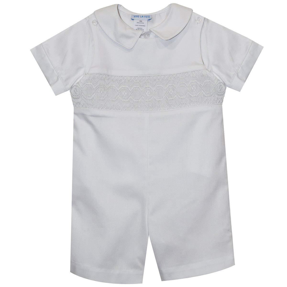 Vive La Fete Geometric Smocked White Pique Boys Shortall Short Sleeve