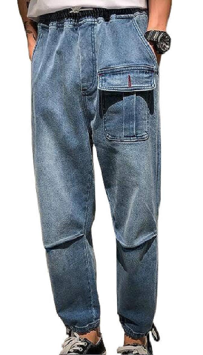 pujingge Mens Drop Crotch Denim Jogger Pants Casual Harem Pants Jeans