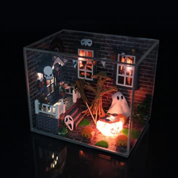 m016 new hongda diy dollhouse miniature halloween wooden doll house include furniturelightdust