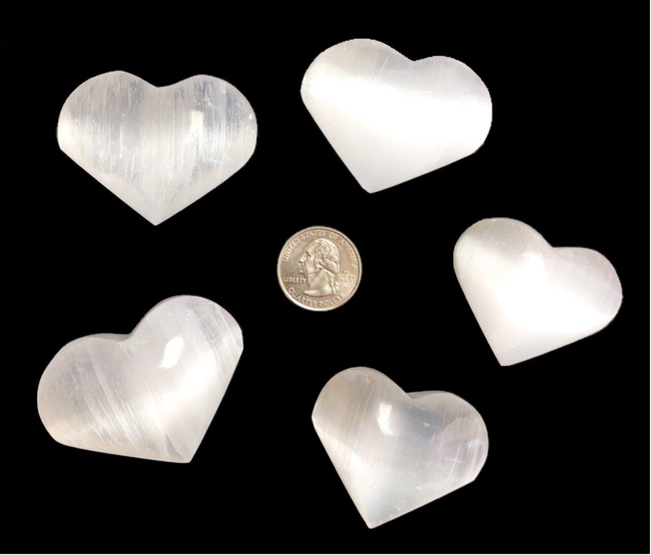 (5) Small Selenite Crystal Heart Stone, Reiki - Chakra - Crystal Healing