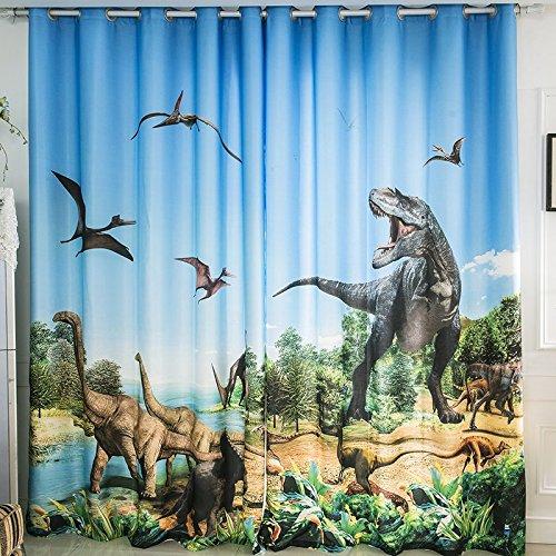 Waple 3D-Gletscher Dinosaurier Jurassic Cartoon Boy Boy Zimmer Themenzimmer Hintergrund Wand Schatten Vorhang 240X260CM
