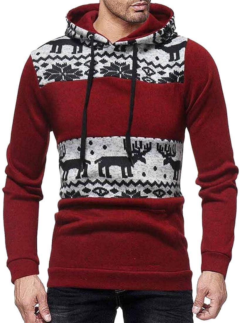 Mstyle Men Christmas Slim Knitting Splicing Long Sleeve Vogue Elk Pullover Hoodies Sweatshirt