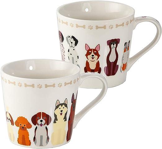 Juego de 2 Tazas Desayuno Originales de Porcelana Fina, Taza de Café Grandes con Diseño de Perros, Regalo para Mujer y Hombres Amantes de los Perros: Amazon.es: Hogar