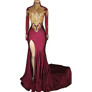 08567d2819d VikDressy Women s Mermaid High Neck Prom Dress 2018 with Gold Appliques  Long Sleeves Evening Gowns