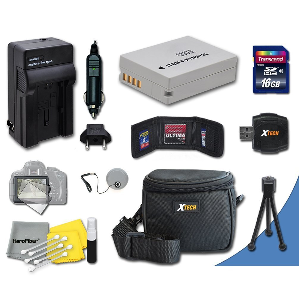Ideal Accessory Kit for Canon Powershot SX50 HS, SX40 HS, G1 X, G15, G16 Digital Cameras Includes 16GB High Speed Memory Card + 1 High Capacity NB-10L NB10L Lithium-ion Battery with Quick AC/DC Charger + Water Resistant Padded Case + Universal Card Reader