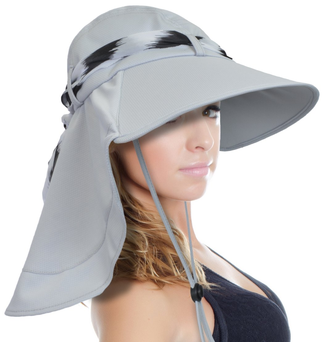 5a17c46f28b Tirrinia Women Wide Brim Adjustable Sun Hat for Safari Beach Hiking Camping  Silver