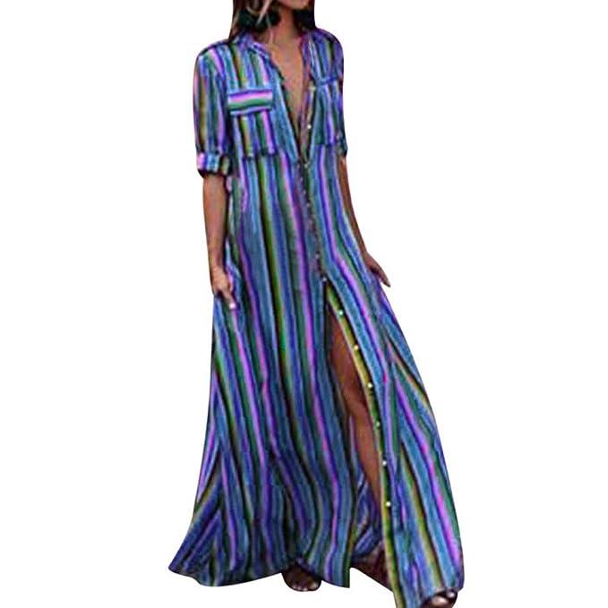 3a42b50aa Vestidos Mujer Verano Elegante de Maxi Vestir Mangas Mitad de para Playa  Fiesta