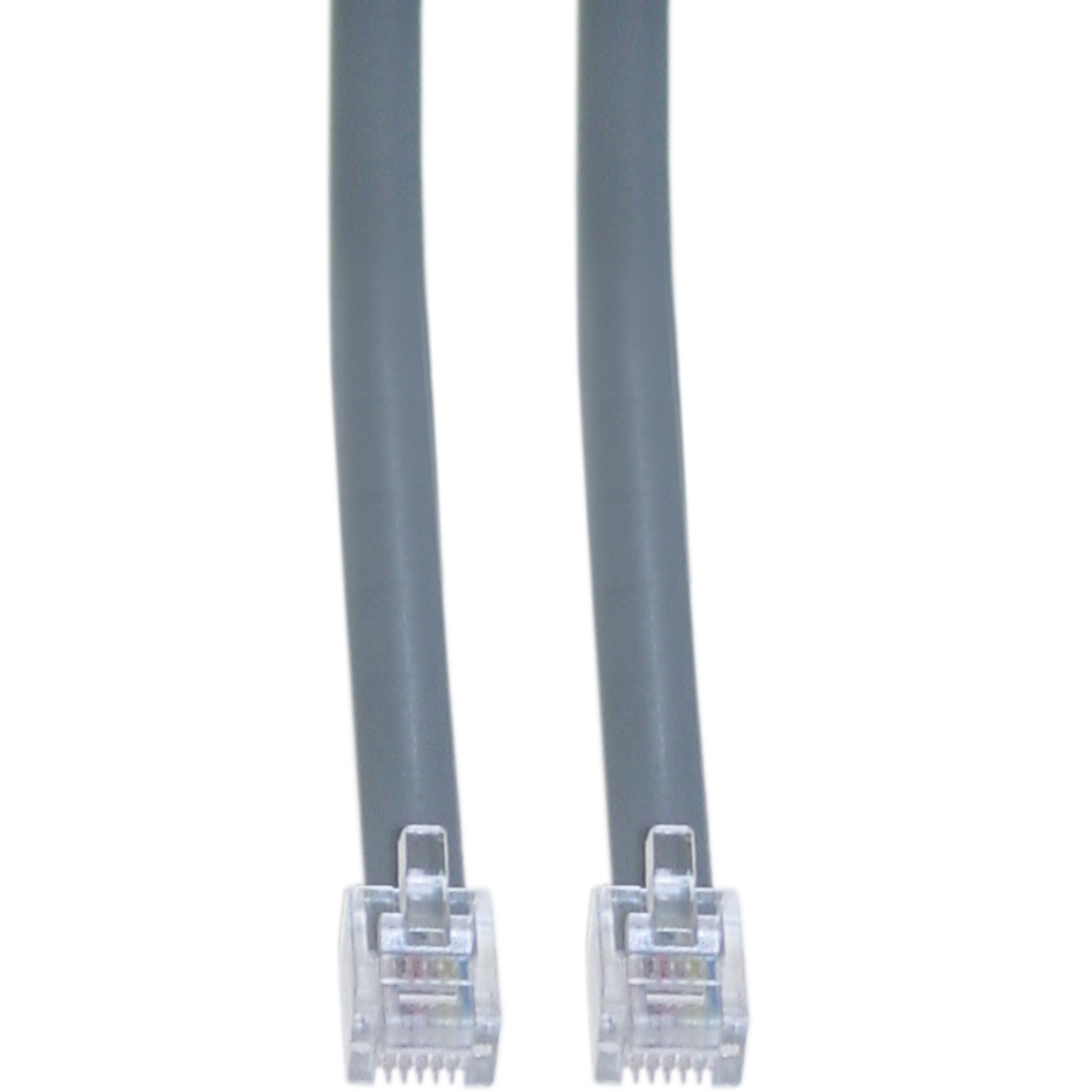 8102-66107 CableWholesale 7-Feet RJ12 CW-8102-66107 6P//6C Silver Satin Flat Cable