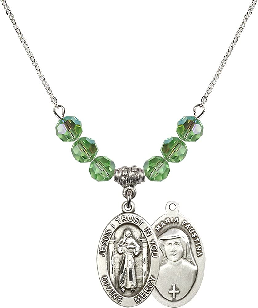18-Inch Rhodium Plated Necklace with 6mm Peridot Birthstone Beads and Sterling Silver Divine Mercy Charm.