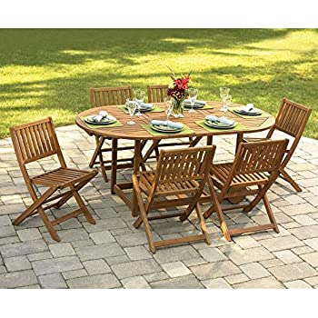 Outdoor Interiors S10555 7 Piece Fold And Store Table Set Eucalyptus All Wood