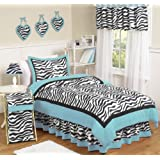Turquoise Funky Zebra Childrens and Kids Bedding 4 Piece Girls Twin Set