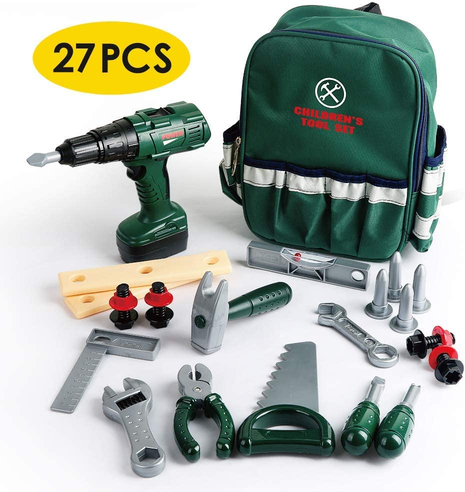 BeebeeRun 27 PCS Kids Tool Set for Toddlers Age 3 4 5 6 7 Year Old Boy Toys, Pretend Play Tool Set with Electronic Cordless Drill, Backpack and Construction Accessories, Lawn Tools Plastic Drill Toy