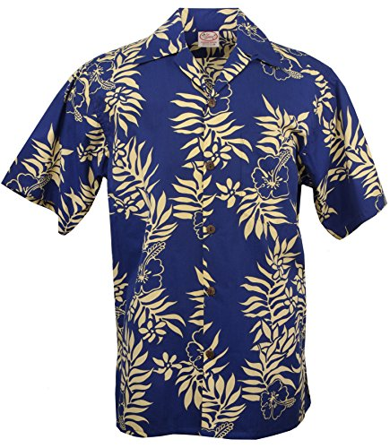 Go Mini Barefoot (Go Barefoot - Mini Tahitian - Men's Hawaiian Print Aloha Shirt - in Royal-Gold - XX-Large)