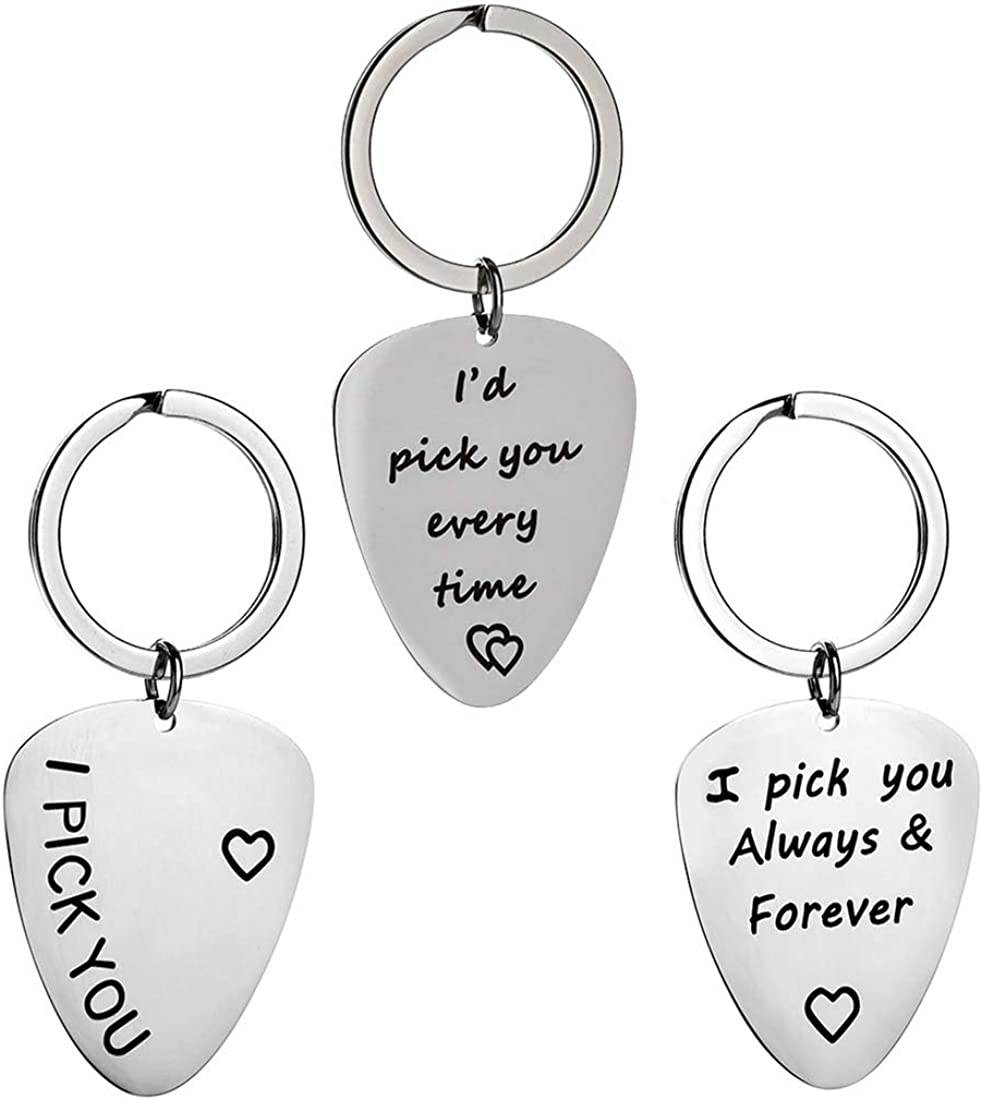 AIbeads Stainless Steel Keychain for Men Husband Son Key Chain Stamping Love Words Pendants Gifts