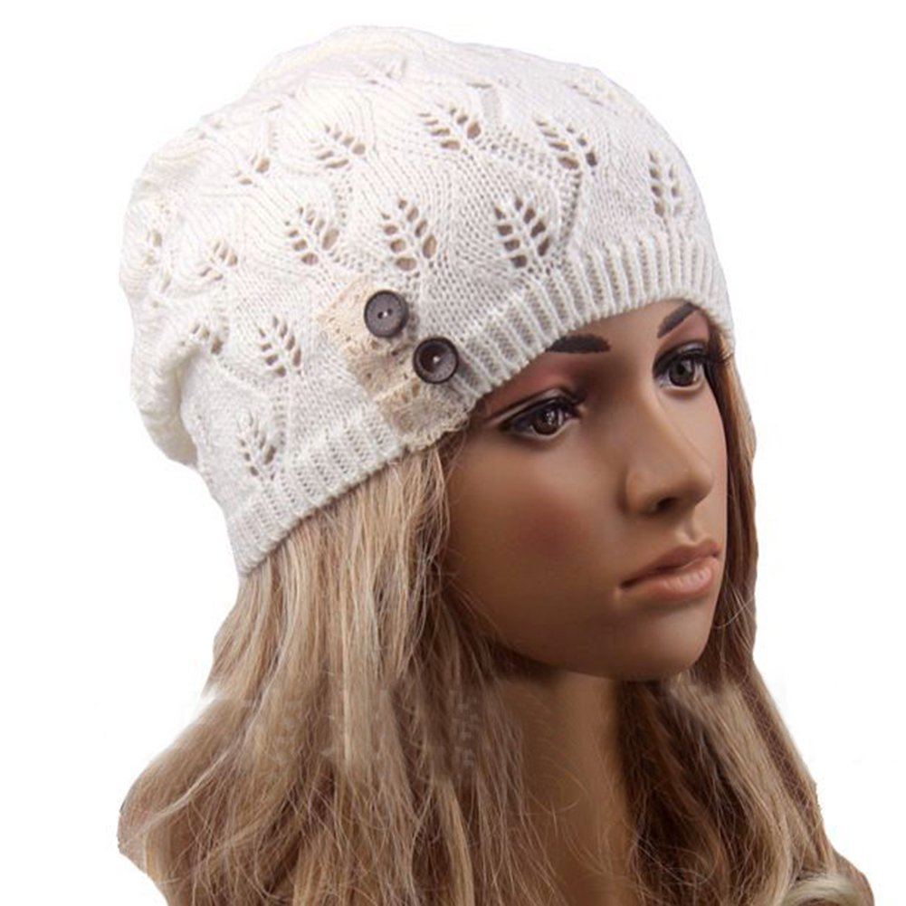 Qingsun Fashion Women's Lady Girl Lightweight leaves Lace Crochet Knit Skullcaps Beret Beanie Hat with Side Button JL2175529CEYKX8