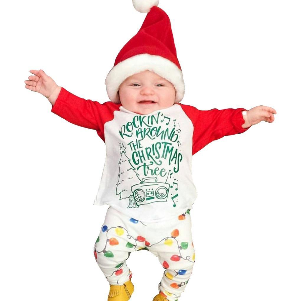Hirolan Baby Weihnachten Kleidung Festliche Kinderkleider Sweatshirt Raglanärmel Sankt Neugeborene Kleidung Säugling Baby Junge Mädchen Beschriftung T-Shirt Tops Blumenkleid Hose