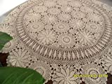 DIAIDI Handmade Crochet Tablecloth Outdoor Tablecloths Round, American Rustic Table Covers Vintage Beige White Table Overlay Dining Table Cloth Wedding Tablecloths (beige)