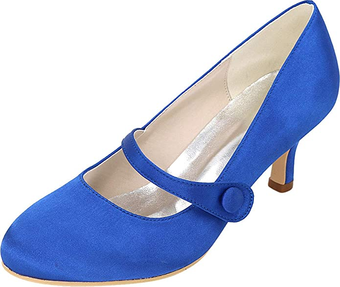Vimedea Womens Office Bride Thick Platform Round Toe Stiletto Shoes Seasonless 817-1YG
