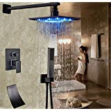 "Rozinsanitary Oil Rubbed Bronze Bath Shower Faucet 8"" LED Top Head Single Handle Tub Mixer Tap"