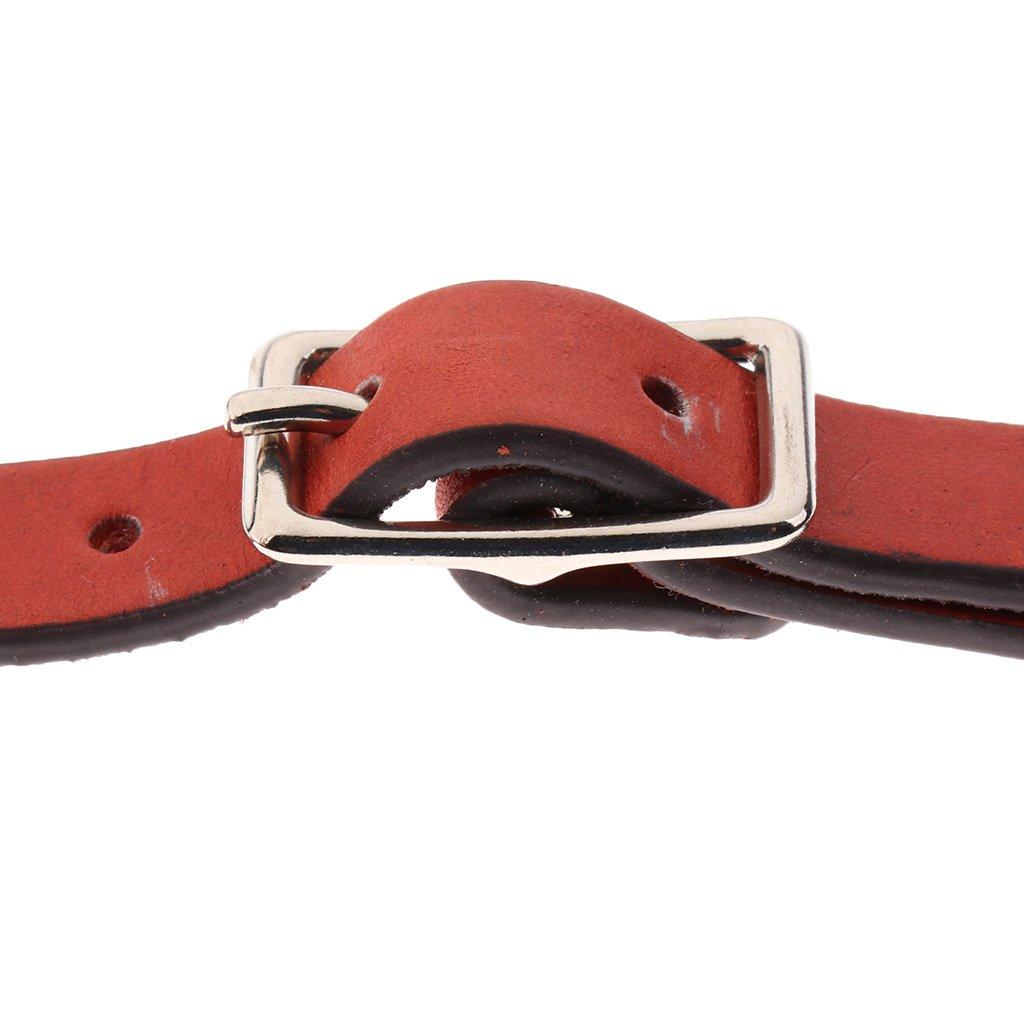 MagiDeal 2pcs Adjustable 22cm Equestrian Horse Riding Artificial Leather Spur Straps Brown//Black