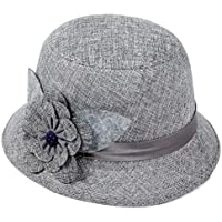 Clearance Women Flax Flower Bownot Hat Billycock Cap Shade Bowler (Gray)