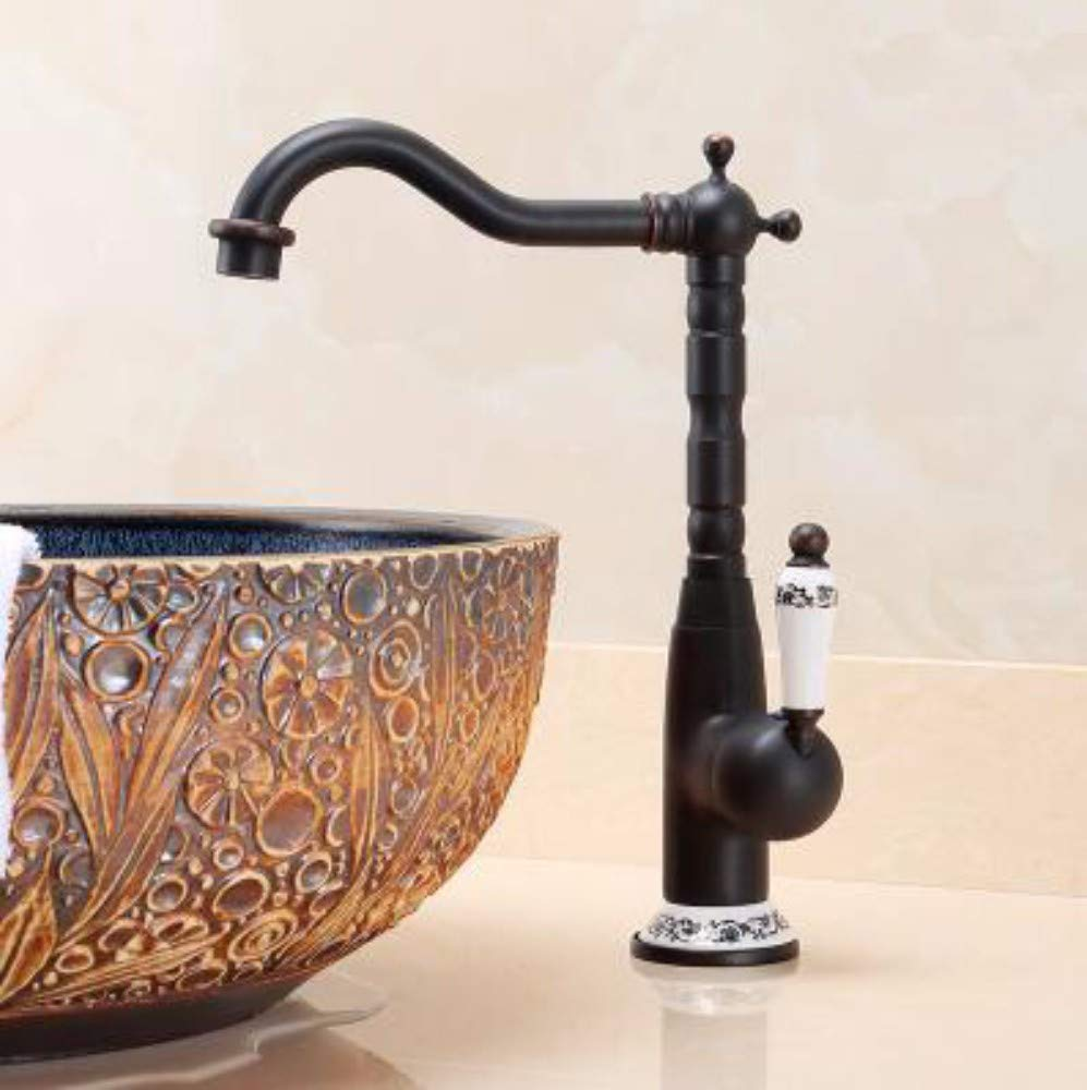 J XHSSF-Bathroom taps European-Style All-Copper Cold-hot Antique redary Single-Hole Retro Faucet,F