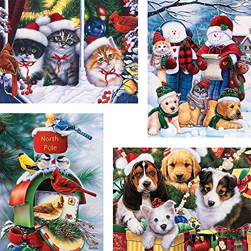 Bits and Pieces - Set of Four (4) 300 Piece Jigsaw Puzzle for Adults 18X24 - Christmas Winter Fun Puzzles - 300 pc Holiday Jigsaws by Artist Jenny Newland