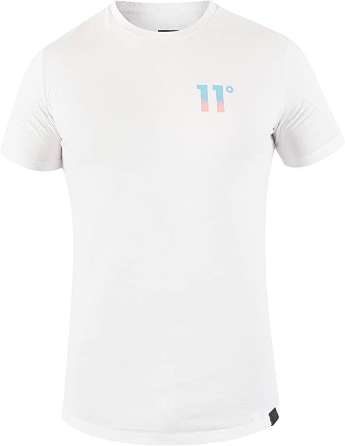 11 Degrees de los Hombres Camiseta Estampada a la Espalda
