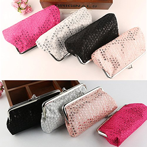 White Polytree Wallet Handbag Evening Buckle Sequins Purse Bag Package Party Phone Women Clutch 7Ur7wqB6