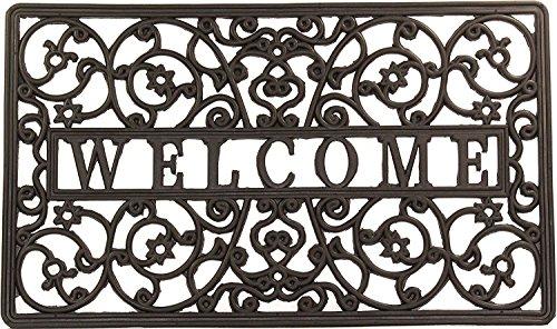 Envelor Home and Garden Rubber Wrought Iron Rubber Welcome Door Mats - Various Designs (Size 18 x 30 Inches) - Door Mat Design Iron