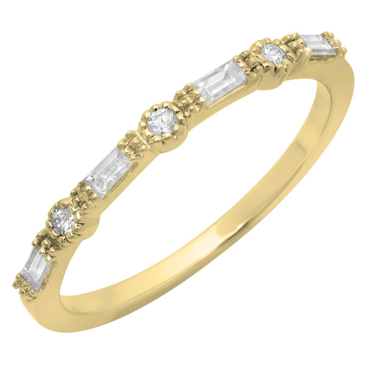 Dazzlingrock Collection 0.15 Carat (ctw) 14K Round & Baguette Diamond Ladies Anniversary Wedding Band, Yellow Gold, Size 8.5