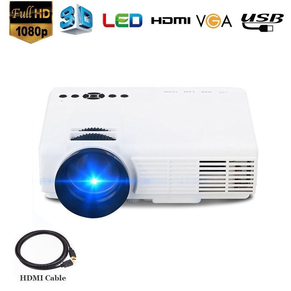 10. Dinly Video Projector, (Upgraded)1500 Lumens Projector with 170