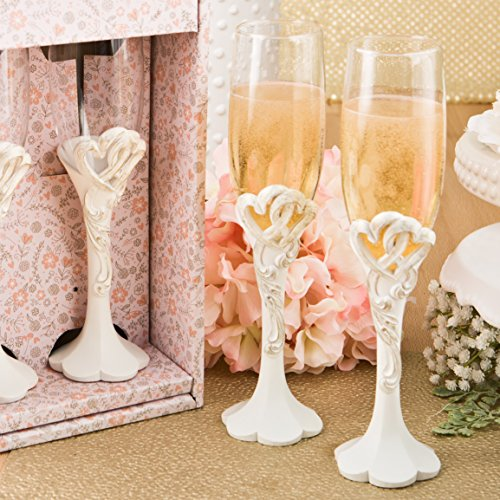 Fashioncraft Vintage Heart Design Toasting Glass Flute Set, One Size, Ivory