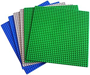 """DreambuilderToy Classic Building Base Plates 10"""" x 10"""" flat Baseplate - Compatible with All Major Brands (6PC)"""