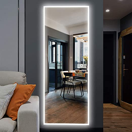 Amazon Com Neutype 65 X22 Led Mirror Full Length Dressing Mirror Large Rectangle Bedroom Bathroom Living Room Mirrors With Touch Button And Plug Dimmable Lighting Stepless Dimming Burst Proof Glass Anti Fog Furniture Decor