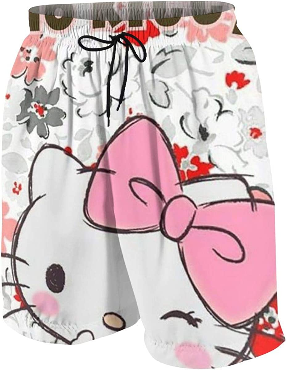 Swim Trunks Hello Kitty Love Cute Quick Dry Beach Board Shorts Bathing Suit with Side Pockets for Teen Boys