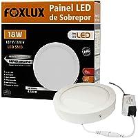 Painel de LED Downlight Foxlux – Redondo – Sobrepor – Luz Branca (6500K) – 18W – Bivolt automático