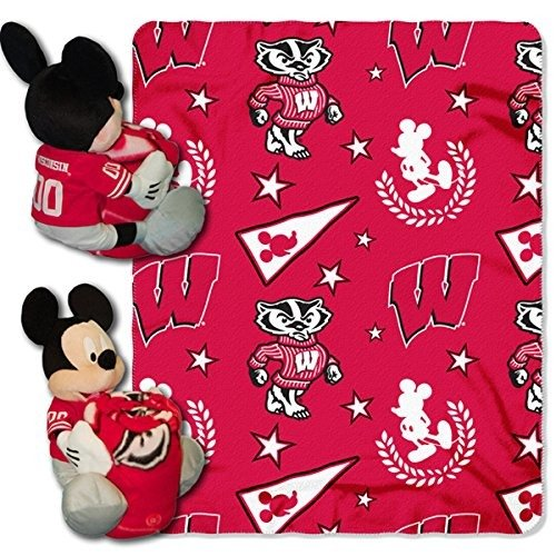 The Northwest Company Officially Licensed NCAA Wisconsin Badgers Co Disney's Mickey Hugger and Fleece Throw Blanket Set - Fleece Wisconsin Blanket