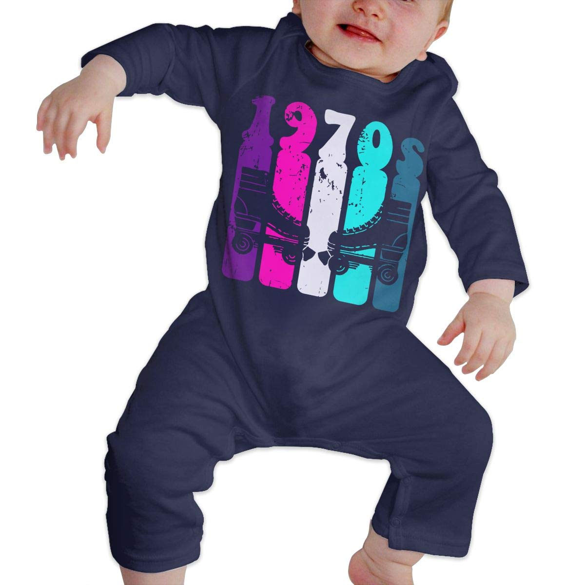 Vintage 70s Style Roller Skating Baby Boy Girl Long Sleeve Bodysuits Coverall Jumpsuit