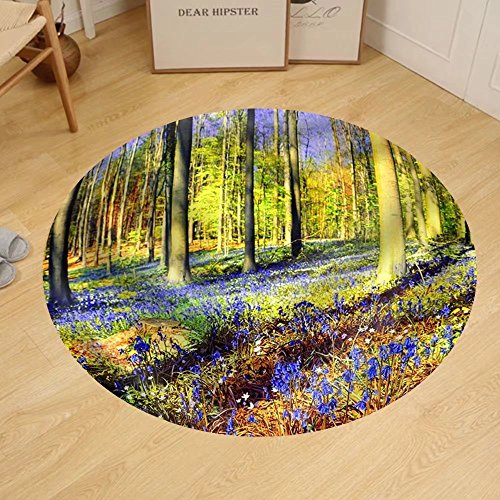 Gzhihine Custom round floor mat Spring forest covered with bluebells and anemones flowers (Rug Anemone)
