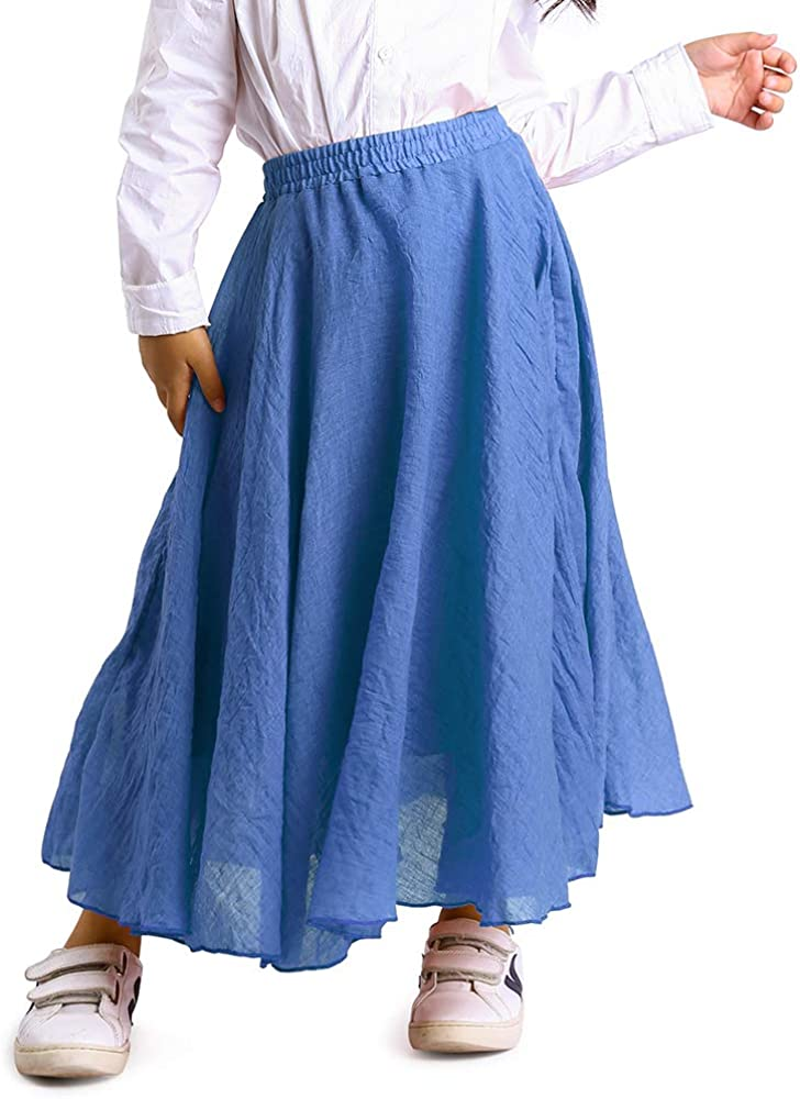 Arshiner Girls Maxi Skirts Modest Stretch Long A-Line Uniform Skirt for Kids 5-13 Years