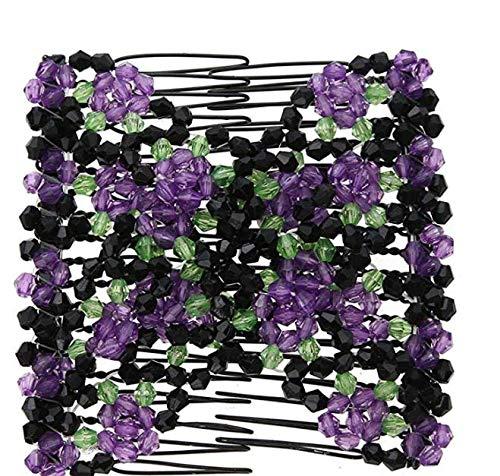 Iyhouse Pince à cheveux, perle vintage Fleur extensible Cheveux Peignes double Magic Clip Peigne en métal
