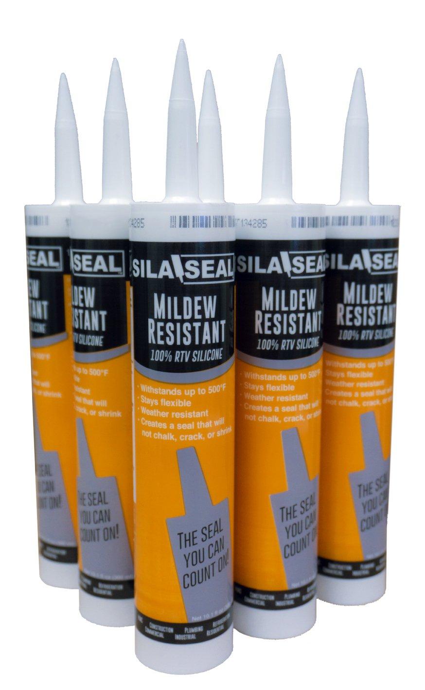 SILA-SEAL Mildew Resistant 100% RTV Silicone, (case of 6), White