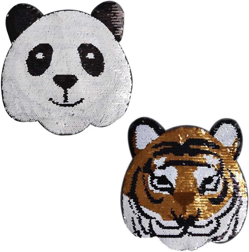 Lorigun Panda-Tiger Parche de Lentejuelas Intercambiable, para ...