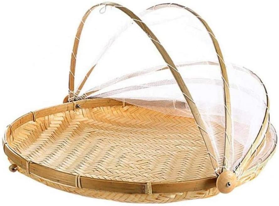 AMOYER 1pc Hand-Woven Food Cover Natral Bamboo Serving Food Tent Basket Pest Dustproof Cover Handmade Bread Basket Fruit Cover with Gauze Kichen Gargets