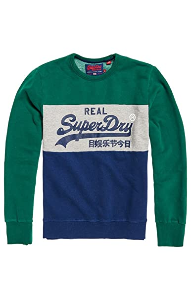 Vintagelogopanelcrew, Sudadera para Hombre, Multicolore (Casual Nvy/Ice Marl/Up State Gold Tp5), L Superdry