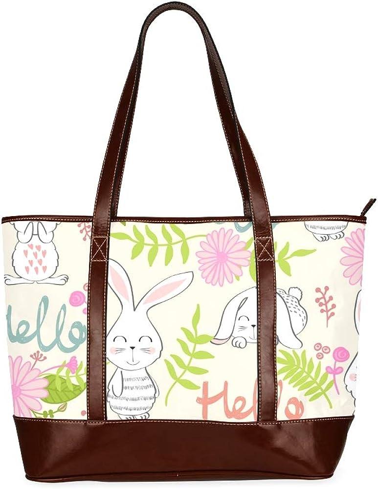 Tote Bags Pattern Bunny Flowers Travel Totes Bag Fashion Handbags Shopping Zippered Tote For Women Waterproof Handbag