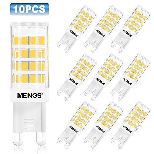 MENGS Pack de 10 Bombilla LED G9 5W Lámpara LED, Halógena Equivalente 40W, Blanco Cálido 3000K, AC 220-240V [Clase de eficiencia energética A+]