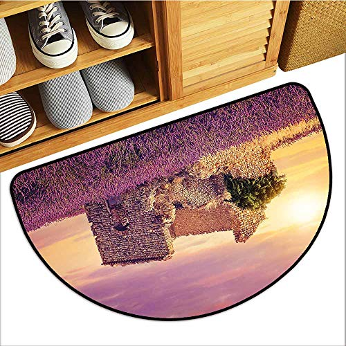 TableCovers&Home Dog-Cat Mat, Lavender Indoor Doormats for Bedroom, Flourishing Spring Field and Damaged Old Historical Ruins View at Sunset (Lavender Peach Green, H24 x D36 ()