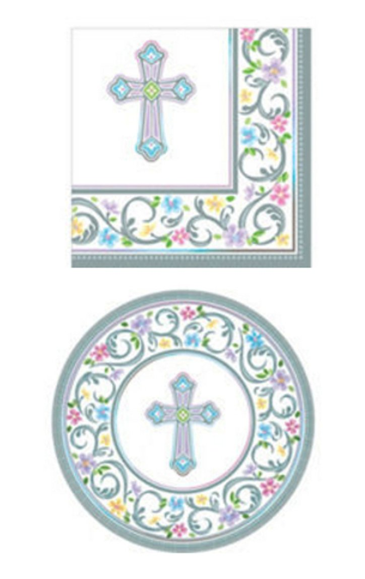 Inspirational Religious Party Supplies for 36 People: Dessert Plates 2-ply Napkins 72 Piece Bundle